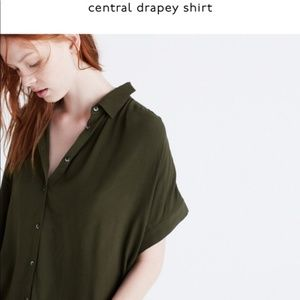Madewell Central Drapey short sleeve shirt S Olive